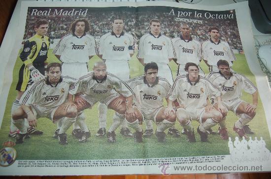 REAL MADRID: PÓSTER DEL EQUIPO QUE DERROTÓ 2 A 0 AL BAYERN EN LA CHAMPIONS LEAGUE 99-2000 (Coleccionismo Deportivo - Carteles de Fútbol)