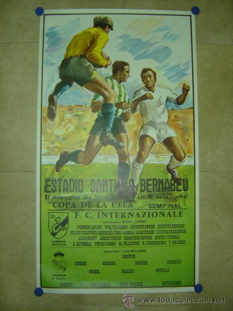 AÑO 1986 CARTEL COPA DE LA UEFA (SEMIFINAL) - REAL MADRID F.C. INTERNAZIONALE (INTER MILAN) (Coleccionismo Deportivo - Carteles de Fútbol)
