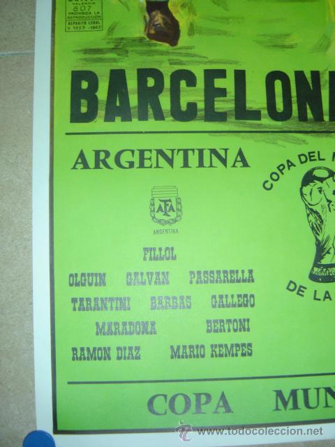 Coleccionismo deportivo: AÑO 1982 - CARTEL FUTBOL MUNDIAL ESPAÑA 82 - ARGENTINA-BELGICA - EN EL NOU CAMP DE BARCELONA - Foto 3 - 123514207