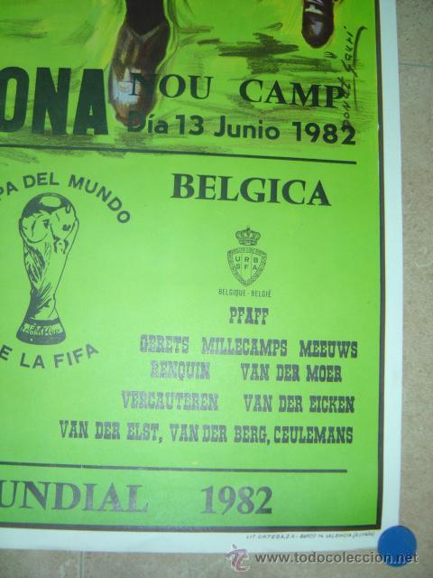 Coleccionismo deportivo: AÑO 1982 - CARTEL FUTBOL MUNDIAL ESPAÑA 82 - ARGENTINA-BELGICA - EN EL NOU CAMP DE BARCELONA - Foto 4 - 123514207
