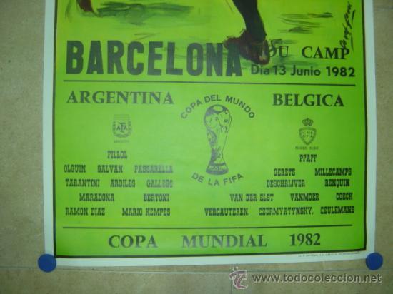 Coleccionismo deportivo: AÑO 1982 - CARTEL FUTBOL MUNDIAL ESPAÑA 82 - ARGENTINA-BELGICA - EN EL NOU CAMP DE BARCELONA - Foto 2 - 119006062