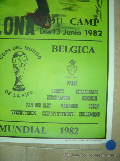 Coleccionismo deportivo: AÑO 1982 - CARTEL FUTBOL MUNDIAL ESPAÑA 82 - ARGENTINA-BELGICA - EN EL NOU CAMP DE BARCELONA - Foto 4 - 119006062