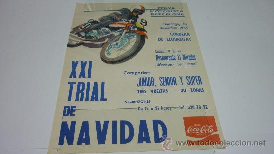 CARTEL PENYA MOTORISTA BARCELONA. XXI TRIAL DE NAVIDAD. CORBERA DE LLOBREGAT. 1985. (49 X 34 CTMS.) (Coleccionismo Deportivo - Carteles de Fútbol)