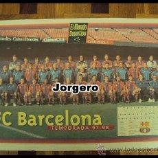 Coleccionismo deportivo: F.C. BARCELONA PLANTILLA 1997-1998 . CAMPEÓN DE LIGA, COPA DEL REY Y SUPERCOPA DE EUROPA. PÓSTER. Lote 24723360