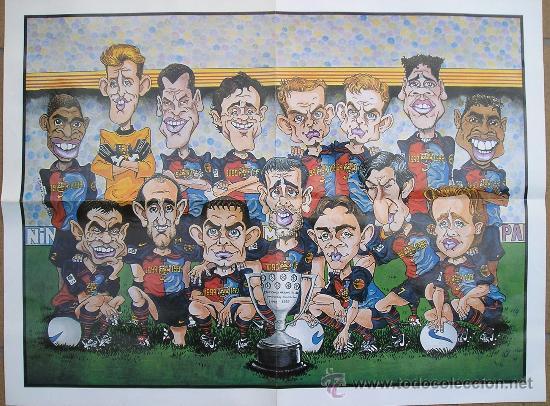 BARÇA - POSTER CARICATURAS DEL FC BARCELONA CAMPEON DE LIGA 98/99 - NUEVO DE 44X58 - VER FOTO - (Coleccionismo Deportivo - Carteles de Fútbol)