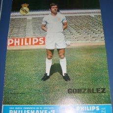 Coleccionismo deportivo: LAMINA POSTER CARTEL REAL MADRID FUTBOL JUGADOR GONZALEZ FOTOS Y DATOS EN EL REVERSO PHILIPS. Lote 27478254