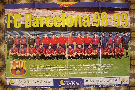70c6976b POSTER F.C. BARCELONA 98 - 99 SPORT BARÇA KOEMAN GUARDIOLA NADAL LUIS  ENRIQUE MOURINHO FIGO HESP ...