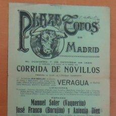 Colecionismo desportivo: PLAZA DE TOROS DE MADRID. CORRIDA DE NOVILLOS. DOMINGO, 7 DE OCTUBRE DE 1928. Lote 27983262