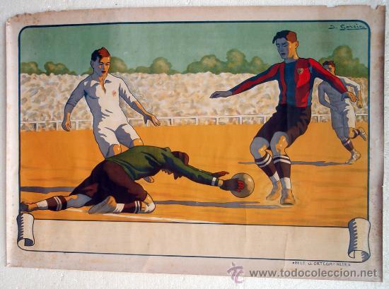 CARTEL FUTBOL , SIN TEXTO, MODERNISTA POSIBLE REAL MADRID BARCELONA, ILUSTRADOR J GARCIA ,ORIGINAL (Coleccionismo Deportivo - Carteles de Fútbol)