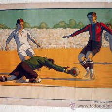 Coleccionismo deportivo: CARTEL FUTBOL , SIN TEXTO, MODERNISTA POSIBLE REAL MADRID BARCELONA, ILUSTRADOR J GARCIA ,ORIGINAL. Lote 29321840