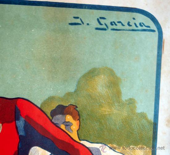 Coleccionismo deportivo: CARTEL FUTBOL , SIN TEXTO, MODERNISTA POSIBLE REAL MADRID BARCELONA, ILUSTRADOR J GARCIA ,ORIGINAL - Foto 2 - 29321840