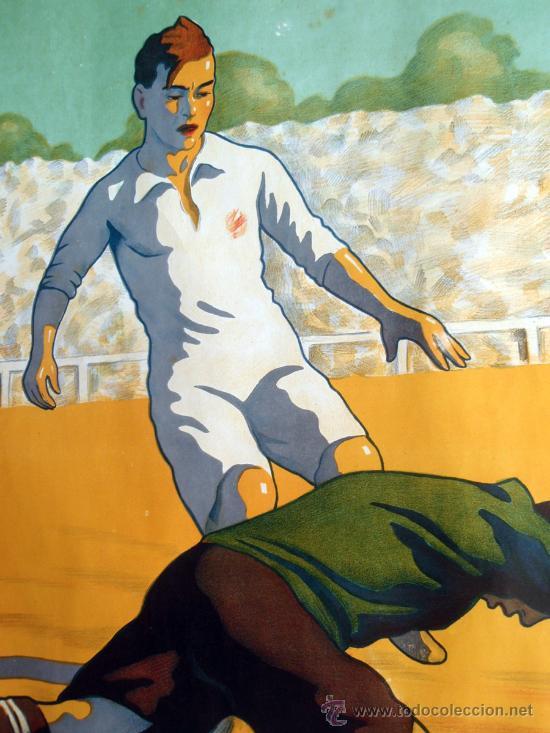 Coleccionismo deportivo: CARTEL FUTBOL , SIN TEXTO, MODERNISTA POSIBLE REAL MADRID BARCELONA, ILUSTRADOR J GARCIA ,ORIGINAL - Foto 3 - 29321840