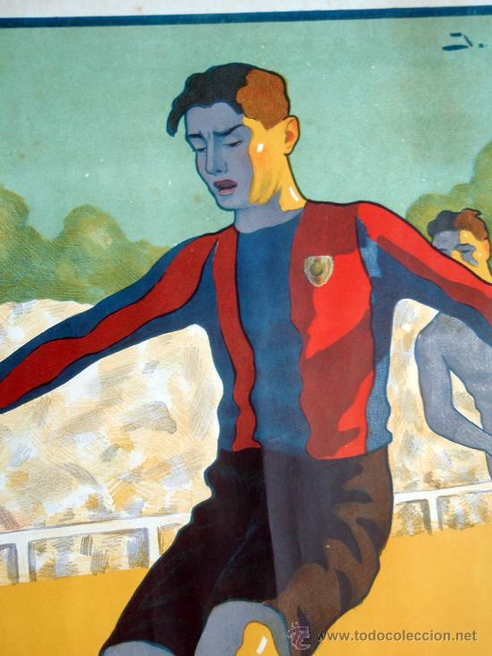 Coleccionismo deportivo: CARTEL FUTBOL , SIN TEXTO, MODERNISTA POSIBLE REAL MADRID BARCELONA, ILUSTRADOR J GARCIA ,ORIGINAL - Foto 4 - 29321840