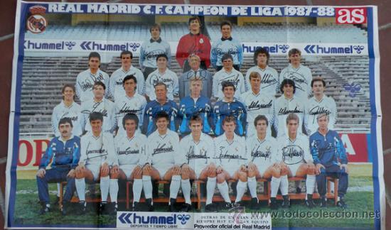 ANTIGUO POSTER DEL REAL MADRID - TEMPORADA 1987 1988 - CON LAS FIRMAS DE LOS JUGADORES IMPRESAS - ME (Coleccionismo Deportivo - Carteles de Fútbol)