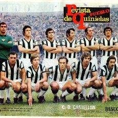 Coleccionismo deportivo: LAMINA POSTER DE FUTBOL C.D. CASTELLON REVISTA DE QUINIELAS PUEBLO BANCO CENTRAL PLANAS DUMAT CLARES. Lote 30782951
