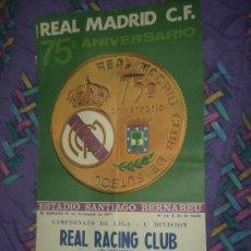 Coleccionismo deportivo: CARTEL ANTIGUO DE FUTBOL ENCUENTRO REAL MADRID RACING SANTANDER LIGA 1977 47 X 86 CM.. Lote 30692735