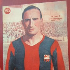 Coleccionismo deportivo: CARTEL POSTER 23 POR 32 CTM - . MARCA , INTERIOR DERECHA DEL BARCELONA - ESCOLA . Lote 31717225