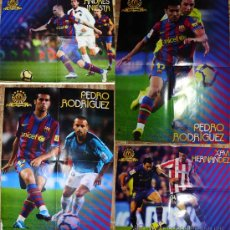 Coleccionismo deportivo: - BARCELONA CLUB FUTBOL POSTER INIESTA + 2 DE PEDRO RODRIGEZ + XAVI + REV JUGON 49. Lote 31789577