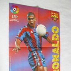 Coleccionismo deportivo: POSTER CHICLES VIDAL TEMPORADA 1996-1997 - RONALDO (BARCELONA). Lote 31885267