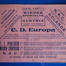 Coleccionismo deportivo: (F-71)CARTEL C.D.EUROPA-WIENER SPORTKLUB AÑOS 20. Lote 31993294