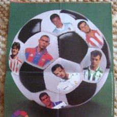 Collectionnisme sportif: POSTER DE LA LIGA 1996 1997. KIKO RIVALDO RONALDO ALFONSO GOLOSINAS VIDAL. CHICLES. 30 X 42 CM. . Lote 32704319
