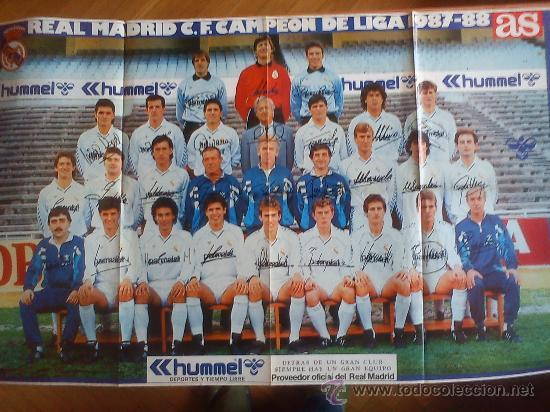 PÓSTER REAL MADRID (1987-88) PERIÓDICO AS (BUTRAGUEÑO, CAMACHO, SANTILLANA, MICHEL, HUGO SÁNCHEZ...) (Coleccionismo Deportivo - Carteles de Fútbol)