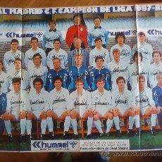 Coleccionismo deportivo: PÓSTER REAL MADRID (1987-88) PERIÓDICO AS (BUTRAGUEÑO, CAMACHO, SANTILLANA, MICHEL, HUGO SÁNCHEZ...). Lote 33036050