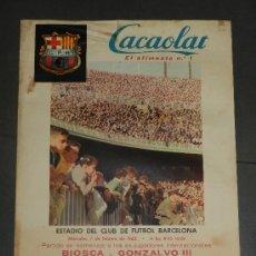 Coleccionismo deportivo: (M) CARTEL CF BARCELONA - PEÑAROL AC , PARTIDO HOMENAJE A LOS EX-JUGADORES BIOSCA Y GONZALVO III . Lote 36014442