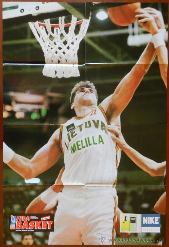 POSTER GIGANTE ARVYDAS SABONIS (LITUANIA) - REVISTA FIBA BASKET - BALONCESTO (Coleccionismo Deportivo - Carteles de Fútbol)