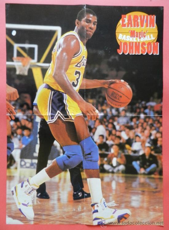 POSTER GRANDE EARVIN MAGIC JOHNSON (LOS ANGELES LAKERS) - NBA BASKET BALONCESTO - (Coleccionismo Deportivo - Carteles de Fútbol)