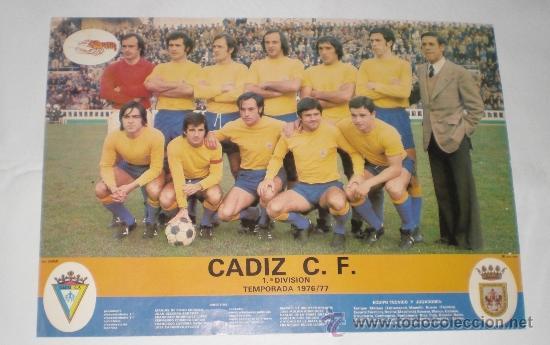 POSTER DE LA PLANTILLA DEL CÁDIZ C.F. TEMPORADA 1976-1977, ASCENSO A 1ª. PUBLICIDAD VENTA MILLÁN. (Coleccionismo Deportivo - Carteles de Fútbol)