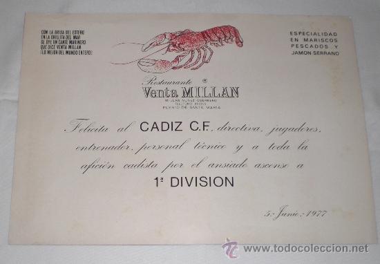 Coleccionismo deportivo: Poster de la plantilla del Cádiz C.F. Temporada 1976-1977, ascenso a 1ª. Publicidad Venta Millán. - Foto 3 - 38175849