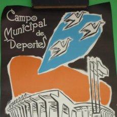 Coleccionismo deportivo: CARTEL ORIGINAL INAUGURACION CAMPO DE DEPORTES HOSPITALET. MAYO 1958. 51 X 35 CTMS. Lote 38366957