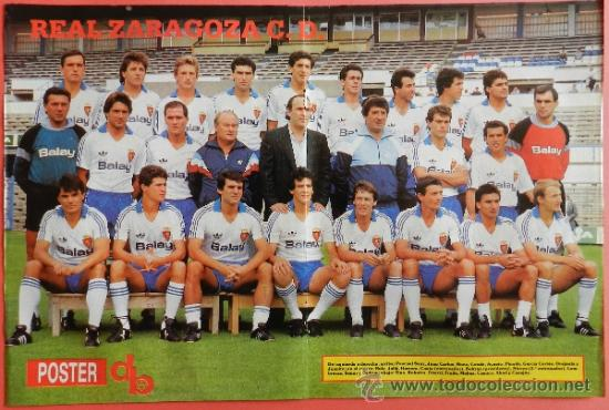 POSTER DOBLE REAL ZARAGOZA - SPORTING GIJON 87/88 - DON BALON LIGA FUTBOL 87/88 - PLANTILLA (Coleccionismo Deportivo - Carteles de Fútbol)