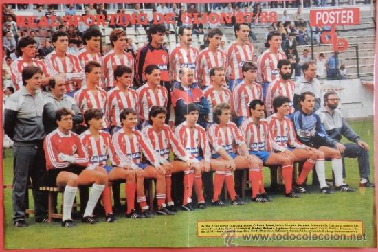 Coleccionismo deportivo: POSTER DOBLE REAL ZARAGOZA - SPORTING GIJON 87/88 - DON BALON LIGA FUTBOL 87/88 - PLANTILLA - Foto 2 - 38985812