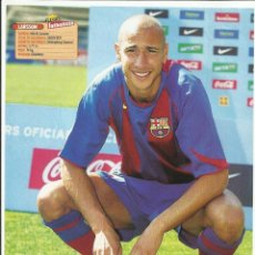 Colecionismo desportivo: POSTER 1/2 PAGINA DOBLE CARA - LARSSON (BARCELONA) + BECKHAM (REAL MADRID). Lote 39599253