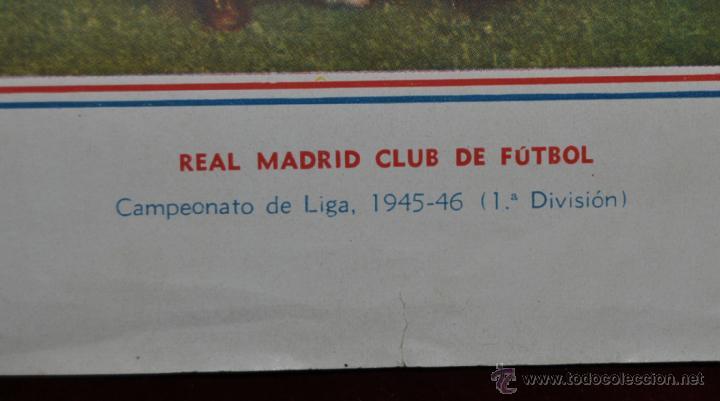 Coleccionismo deportivo: POSTER DEL REAL MADRID CLUB DE FUTBOL. TEMPORADA 1945-46 OBSEQUIO DE AVENTURERO - Foto 3 - 52127019