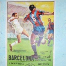 Coleccionismo deportivo: ESPECTACULAR POSTER 97,5 X 54CM. - MUNDIAL 1982 - ARGENTINA VS BÉLGICA - ESTADIO NOU CAMP -13-06-82. Lote 41803165
