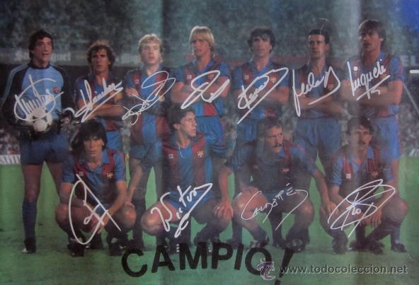 Coleccionismo deportivo: POSTER F.C BARCELONA -CAMPEON DE LIGA 1984/85 - CON LA FIRMA IMPRESA DE LOS JUGADORES - Foto 2 - 42033683