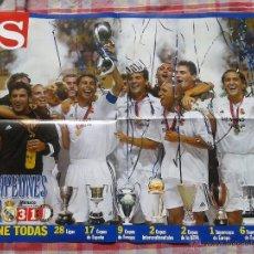 Coleccionismo deportivo: SUPER POSTER REAL MADRID SUPERCAMPEONES DE EUROPA 2002 AS ,BUEN ESTADO. Lote 42293641