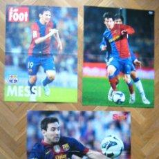 Coleccionismo deportivo: LOTE LOT 3 POSTERS GRANDES MESSI FC BARCELONA ARGENTINA. DIFERENTES BUEN ESTADO. Lote 42771043