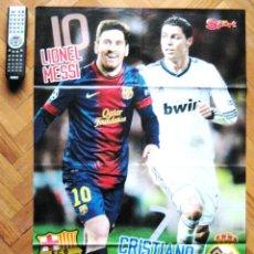 Coleccionismo deportivo: MAXI POSTER MESSI FC BARCELONA & CRISTIANO RONALDO CON REAL MADRID. 82 X 55 CM . Lote 42771245