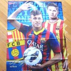 Coleccionismo deportivo: POSTER FC BARCELONA DE NEYMAR Y MESSI, GRANDE : 80 X 55 CM, REVISTA NO DE ESPAÑA. Lote 42771259