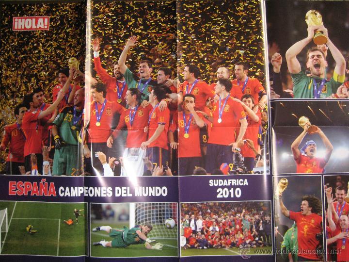 POSTER ESPAÑA CAMPEONA DEL MUNDIAL DE FUTBOL SURÁFRICA 2010 - REVISTA HOLA - 62X87 CM (Coleccionismo Deportivo - Carteles de Fútbol)