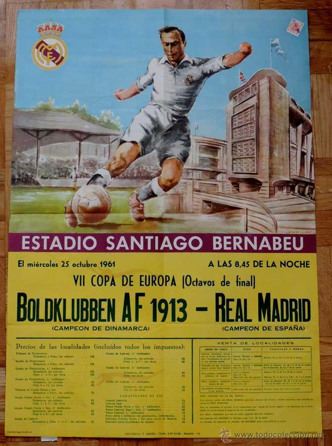 1961, CARTEL ORIGINAL REAL MADRID, BOLDKLUBBEN AF 1913, VII COPA DE EUROPA, OCTAVOS DE FINAL, 25 DE (Coleccionismo Deportivo - Carteles de Fútbol)