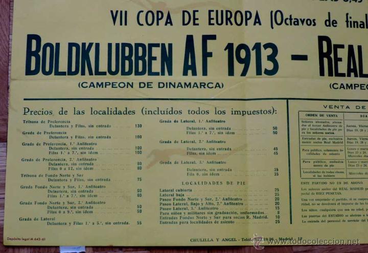 Coleccionismo deportivo: 1961, CARTEL ORIGINAL REAL MADRID, BOLDKLUBBEN AF 1913, VII COPA DE EUROPA, OCTAVOS DE FINAL, 25 DE - Foto 3 - 43878606