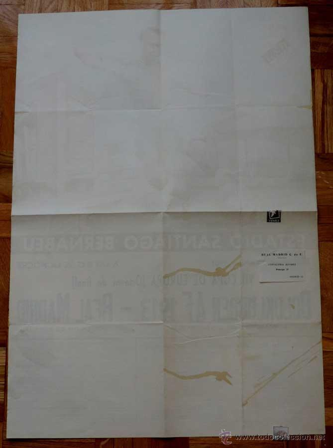 Coleccionismo deportivo: 1961, CARTEL ORIGINAL REAL MADRID, BOLDKLUBBEN AF 1913, VII COPA DE EUROPA, OCTAVOS DE FINAL, 25 DE - Foto 4 - 43878606