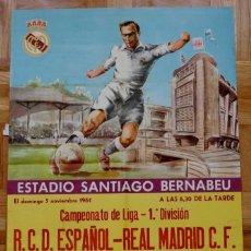 Coleccionismo deportivo: 1961, CARTEL ORIGINAL REAL MADRID, R.C.D. ESPAÑOL, CAMPEONATO DE LIGA 1ª DIVISION, 5 DE NOVIEMBRE D. Lote 43878691