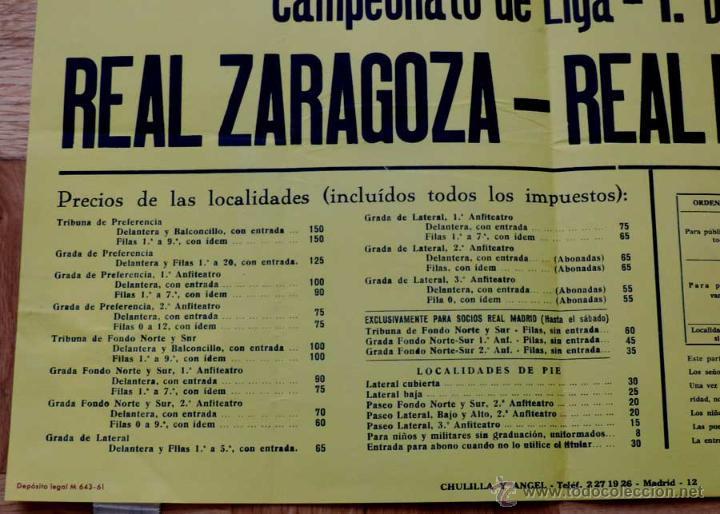 Coleccionismo deportivo: 1961, CARTEL ORIGINAL REAL MADRID, REAL ZARAGOZA, CAMPEONATO DE LIGA 1ª DIVISION, 15 DE OCTUBRE DE 1 - Foto 3 - 43878718