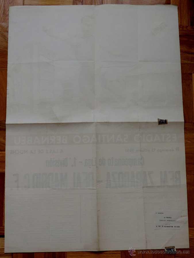 Coleccionismo deportivo: 1961, CARTEL ORIGINAL REAL MADRID, REAL ZARAGOZA, CAMPEONATO DE LIGA 1ª DIVISION, 15 DE OCTUBRE DE 1 - Foto 4 - 43878718